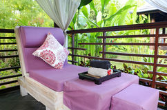 Spa massage room in the garden Stock Photo