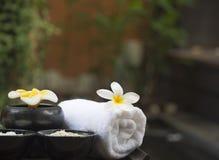 Spa massage with salt, turmeric and aroma, Thailand, select focus. Spa massage with salt, turmeric and aroma on the wooden, Thailand, select focus stock photography