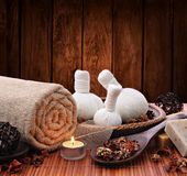 Spa massage setting with candlelight Stock Images