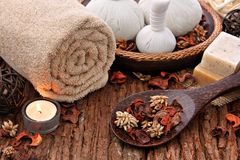 Spa massage setting with candlelight stock photography