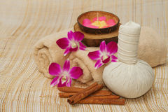 Spa massage setting with compress balls and aroma c Stock Photo
