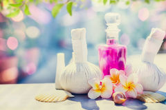 Spa and massage setting with  frangipany flowers for Healthy  treatments at spring or summer nature Royalty Free Stock Photos