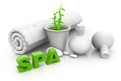 Spa massage setting with green pant Stock Photo