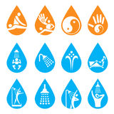 Spa massage shower icons. Stock Photos