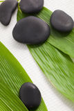 Spa massage stones on bamboo leaves Stock Photography