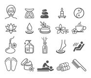 Spa massage therapy cosmetics icons. Royalty Free Stock Images
