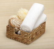 SPA Massage tools. Towel and sponge royalty free stock photography