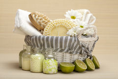 Spa - massage tools and bath salt. Spa - massage tools and lime bath salt stock images