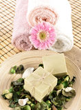 Spa massage towel and soap Stock Photography