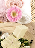 Spa massage towel and soap Royalty Free Stock Photo