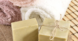 Spa massage towel and soap Royalty Free Stock Photos