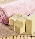 Spa massage towel and soap Stock Image