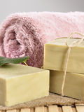Spa massage towel and soap Royalty Free Stock Images