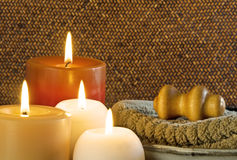 Spa Massage Treatment With Candles Stock Photography