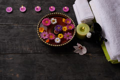 Spa massage and treatment on the wood, stock photo