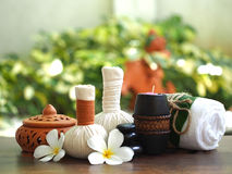 Spa massage and treatment on the wood, Thailand, select focus Stock Photo