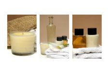 Spa Massage Triptych Collection. Triptych collection of Spa and bathroom images Stock Photos