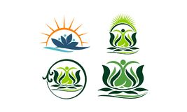 Spa Massage Yoga Health Set. Vector Royalty Free Stock Image