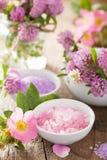 Spa med rosa växt- salt och lös rosblommaväxt av släktet Trifolium Fotografering för Bildbyråer