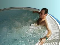 Spa for men. Jacuzzi bath in relax center Stock Photography