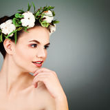 Spa Model with Healty Clean Skin and Cotton Flowers Wr Stock Photo