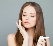 Spa Model Woman with Healthy Skin and Long Hair Stock Photo