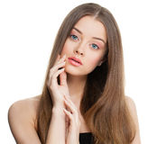 Spa Model Woman with Healthy Skin and Long Hair. On White Background. Skincare Concept Stock Photo