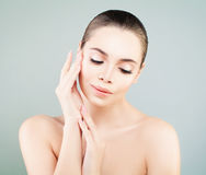 Spa Model Woman with Healthy Skin touching her Hand her Skin. Sk Stock Images