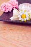 Daily spa: moisturising cream and flowers. Luxury spa beauty product, pot of moisturising cream Stock Photos