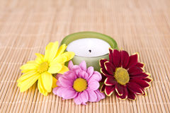 Spa motive with flowers and candle Stock Image