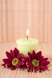 Spa motive with flowers and candle Stock Photo