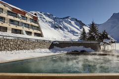 Spa in the mountain. Argentinean spa in the Andes range at winter Royalty Free Stock Image