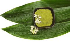 Spa mud, flower and green leaf on white background Royalty Free Stock Photos