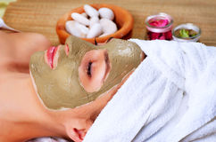 Spa Mud Mask. Woman in Spa Salon Royalty Free Stock Image