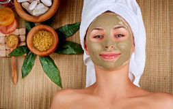 Spa Mud Mask. Woman in Spa Salon Stock Photography