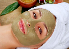 Spa Mud Mask. Woman in Spa Salon Royalty Free Stock Images