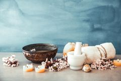 Spa natural concept. Dayspa cosmetics products. Spa and wellness setting Stock Image