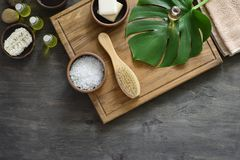 Spa products arrangement. Spa natural cosmetics, spa background with a space for a text, flat lay overhead view Stock Photography