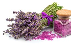 Spa natural product, lavender, aroma salt Royalty Free Stock Photo