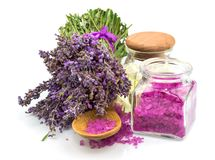 Spa natural product, lavender, oil, aroma salt Royalty Free Stock Photography
