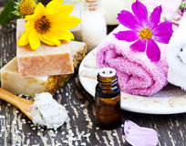 Spa.Natural soap,Clay Mask,Essence Oil and Towel Royalty Free Stock Image