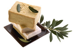 Spa. natural soaps and olive branch. Isolated on the white background Stock Image