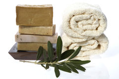 Spa. natural soaps and olive branch. Isolated on the white background Stock Images