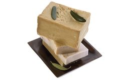 Spa. natural soaps and olive leaves Stock Images
