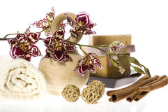 Spa. natural soaps and orchid. Isolated on the white background Stock Image