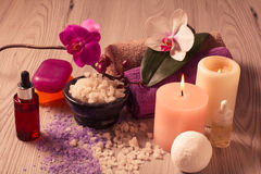 Spa nature products. Sea salt, aromatic oil and soap Royalty Free Stock Photography