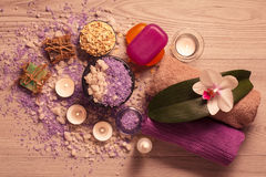 Spa nature products. Sea salt, scrub and aromatic soap Royalty Free Stock Photography