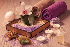 Spa nature products. Sea salt, soap and aromatic oil Stock Photos