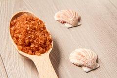 Spa naturprodukter Träsked med det bruna havet som är salt för bathro Arkivfoto