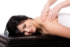 Spa neck shoulder massage treatment Royalty Free Stock Photos